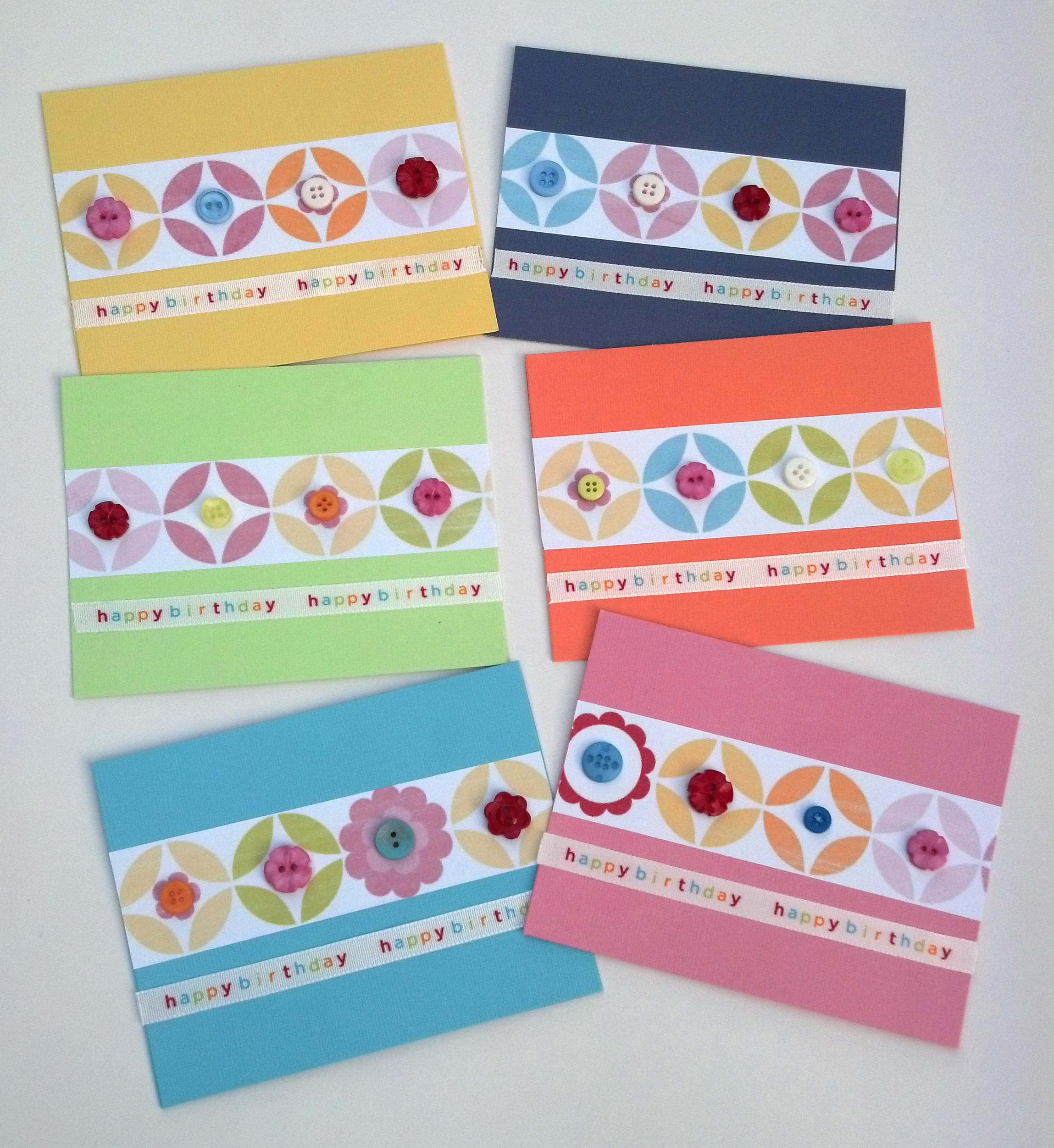 Handmade Birthday Geometric Button Greeting Cards With Envelopes On